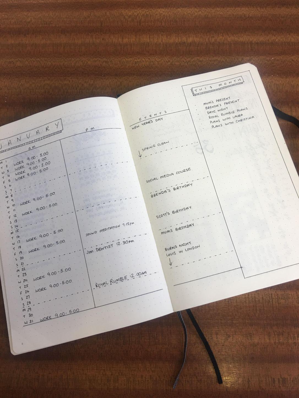 my january bullet journal setup mind body journal